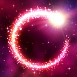 Abstract astral background with neon glowing comet frame in space cloudy sky. Vortex of brilliant chaotic particles. Comet tail wi. Th glitter star lens flare vector illustration