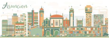 Abstract Asuncion Skyline met Kleurengebouwen Stock Afbeelding