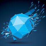Abstract asymmetric blue vector low poly wrecked object with dif. Ferent triangular particles. 3d origami futuristic form with 3d mesh and white connected dotted Stock Photography