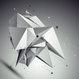 Abstract asymmetric vector black and white object, lines mesh Royalty Free Stock Image
