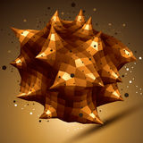 Abstract asymmetric vector golden object with lines mesh Royalty Free Stock Image