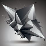 Abstract asymmetric vector monochrome object with black lines me. Sh, complicated geometric shape Vector Illustration