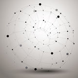 Abstract asymmetric vector monochrome object with black lines me. Sh, complicated geometric shape Royalty Free Stock Image