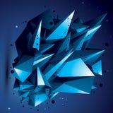 Abstract asymmetrisch helder voorwerp met lijnennetwerk, compli stock illustratie