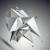 Abstract asymmetrisch vector zwart-wit voorwerp, lijnennetwerk Royalty-vrije Stock Afbeelding
