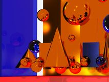 Abstract Atmosphere. An hot intimate atmosphere composed by chromed 3d shapes and playing colours lights in the mirror Stock Image