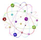 Abstract atom - 3D. 3D circle, atom in the different colours, with 3D balls Royalty Free Stock Photos