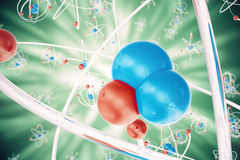 Abstract atom background, Chemistry model of molecule. atoms and electrons. Physics concept, 3d rendering. Abstract atom background, Chemistry model of molecule Stock Image