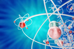 Abstract atom background, digital illustration of atom. Glowing energy balls. Abstract atom close-up as a scientific. Background. 3d rendering stock illustration