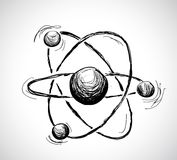 Abstract atom. Hand drawn illustration Stock Photo
