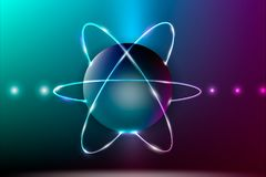 Abstract atom model. Shining atom model. Vector illustration Royalty Free Illustration
