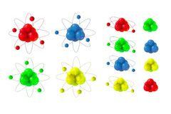 3d abstract atom structure. Abstract Atoms structure. 3d vector protons neutrons and electrons. Science concept. Big set Stock Photos