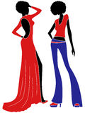 Abstract attractive models. Abstract attractive slender ladies in long gown and trousers, hand drawing stylized color vector illustration royalty free illustration