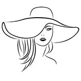 Abstract attractive young women in hat. Portrait close-up, vector black outline Royalty Free Stock Photography