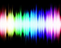 Abstract audio spectrum equalizer waveform. Abstract rainbow audio spectrum waveform equalizer on black background Royalty Free Stock Images