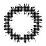 Abstract audio spectrum waveform halftone dots circle. Isolated on white background Stock Images