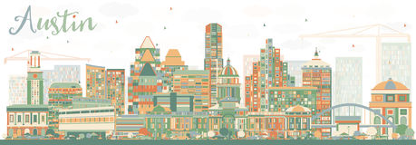 Abstract Austin Skyline met Kleurengebouwen vector illustratie
