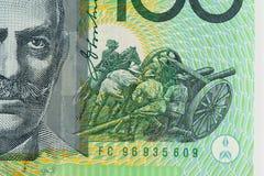 Abstract Australia Dollars. Closeup details of Australian one hundred dollar bill, Financial concept Stock Photography
