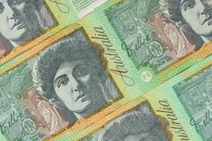 Abstract Australia Dollars. Closeup details of Australian one hundred dollar bill, Financial concept Royalty Free Stock Image