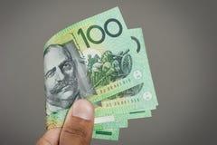 Abstract Australia Dollars. Closeup details of Australian one hundred dollar bill, Financial concept Royalty Free Stock Photo