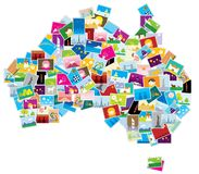 Abstract Australia map. An abstract map of Australia created by strategic arrangement of small illustrations Stock Images