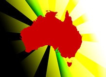 Abstract Australian illustration. An illustration featuring the colours of Australia and the Aboriginal flag royalty free illustration