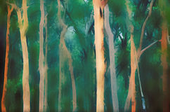 Abstract Australian misty Eucalyptus forest background. Abstract Australian Eucalyptus and Angophora forest background. Digital illustration, soft blur. Blue Royalty Free Stock Photo