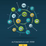 Abstract autonomous electric car, self-driving, autopilot background. Digital connect system with integrated circles. Abstract autonomous electric car, self stock illustration