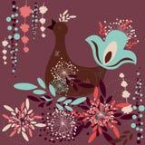 Abstract autumn art. Abstract autumn vector art - bird with flowers Royalty Free Illustration