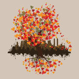 Abstract autumn background. Abstract autumn tree and city background illustration Vector Illustration