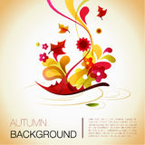 Abstract autumn  background. Warm colorful abstraction with the fallen leaf in the water as the main theme, and the various design elements Royalty Free Stock Image