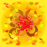 Abstract autumn background. Abstract composition on an autumn theme with the stylized leaves and berries Stock Illustration