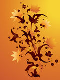 Abstract autumn background. Abstract pattern with autumn leaves on an orange background Royalty Free Illustration