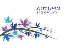 Abstract Autumn background with Blue and purple leaves. Vector Illustration royalty free illustration