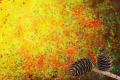 Abstract autumn background with cones Royalty Free Stock Photography