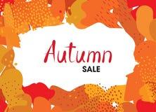 Abstract autumn background design. Ð¡reative fall poster with fr. Abstract autumn background design. Сreative fall poster with frame and lettering Autumn sale royalty free illustration