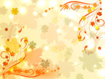 Abstract autumn background with maple leaves and floral designs. In opposite corners of the picture Royalty Free Stock Image