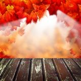 Abstract Autumn Background met Lege Houten Lijst Royalty-vrije Stock Foto's