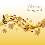 Abstract autumn background with music notes and a treble clef. With maple leaves stock illustration