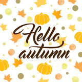 Abstract autumn background. With pumpkins and falling leaves. Hello autumn lettering. Vector illustration Stock Photos