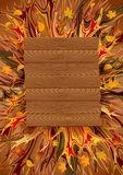 Abstract autumn background with wooden board. Vector illustration in warm colors Royalty Free Illustration