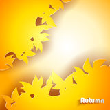 Abstract autumn background. With yellow leaves vector illustration