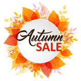 Abstract autumn banner with leaves. Abstract autumn banner with orange and yellow falling leaves vector illustration