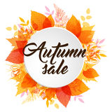 Abstract autumn banner with leaves. Abstract autumn banner with orange and yellow falling leaves stock illustration