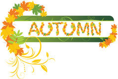 Abstract autumn banner with maple leaves. Illustration stock illustration