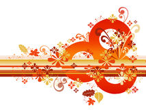 Abstract Autumn Border. In orange and gold tones; computer illustration vector illustration