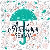 Abstract autumn card template with swirls Stock Photos