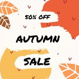 Abstract Autumn Design. With colorful brush strokes and leaves in yellow, red, brown and orange on white background. Modern and creative poster, brochure Royalty Free Stock Photo
