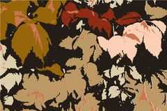 Abstract Autumn Design. Orange Floral Background with Season Colors, Abstract Gold Fall Decoration Concept royalty free illustration