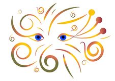 Abstract autumn eyes. With floral motives on white background vector illustration